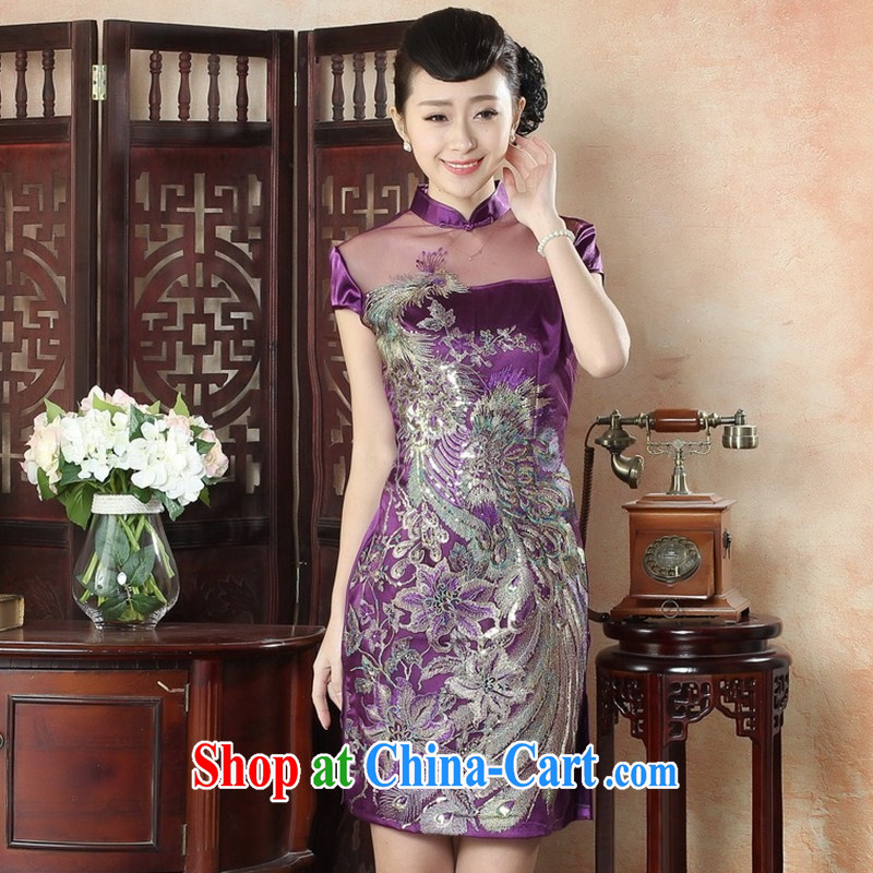 Red bridal wedding dresses wedding toast clothing, style lace short Phoenix embroidery cheongsam dress LS XXL 0008