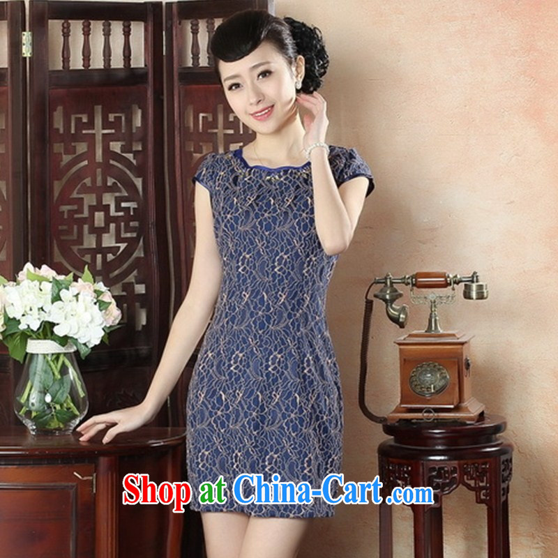 New autumn fashion summer dresses daily retro style beauty short cheongsam dress elegant ladies lace cheongsam LS XXL 0014