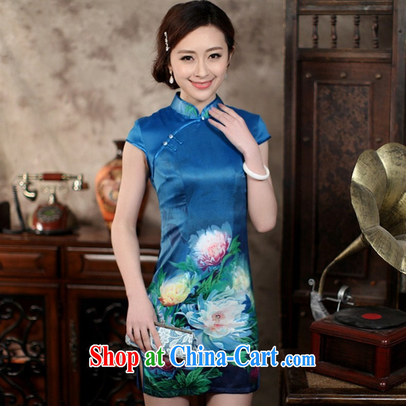 Wholesale new daily improved short retro dresses dresses silk stamp beauty and elegant open's classical FZS XXL 0004