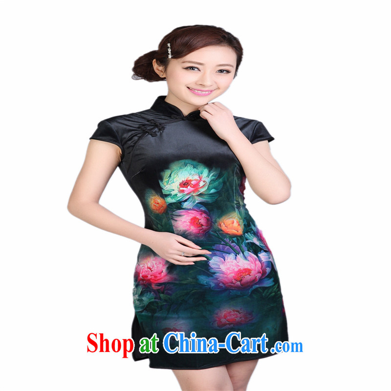 Wholesale cheongsam Chinese TD 0003 spring gold velour painting stylish classic short-sleeved short cheongsam black XXL