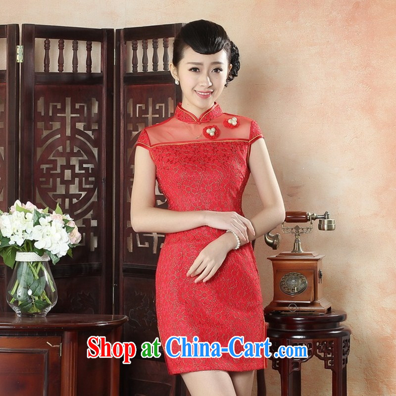 New summer, autumn day lace cheongsam dress Stylish retro beauty improved elegant short cheongsam dress wholesale LS XXL 0009