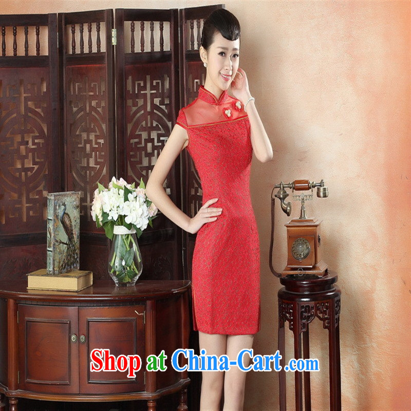 New summer and early autumn day lace cheongsam dress Stylish retro beauty improved elegant short cheongsam dress wholesale LS 0009 XXL, health concerns (Rvie .), and, on-line shopping
