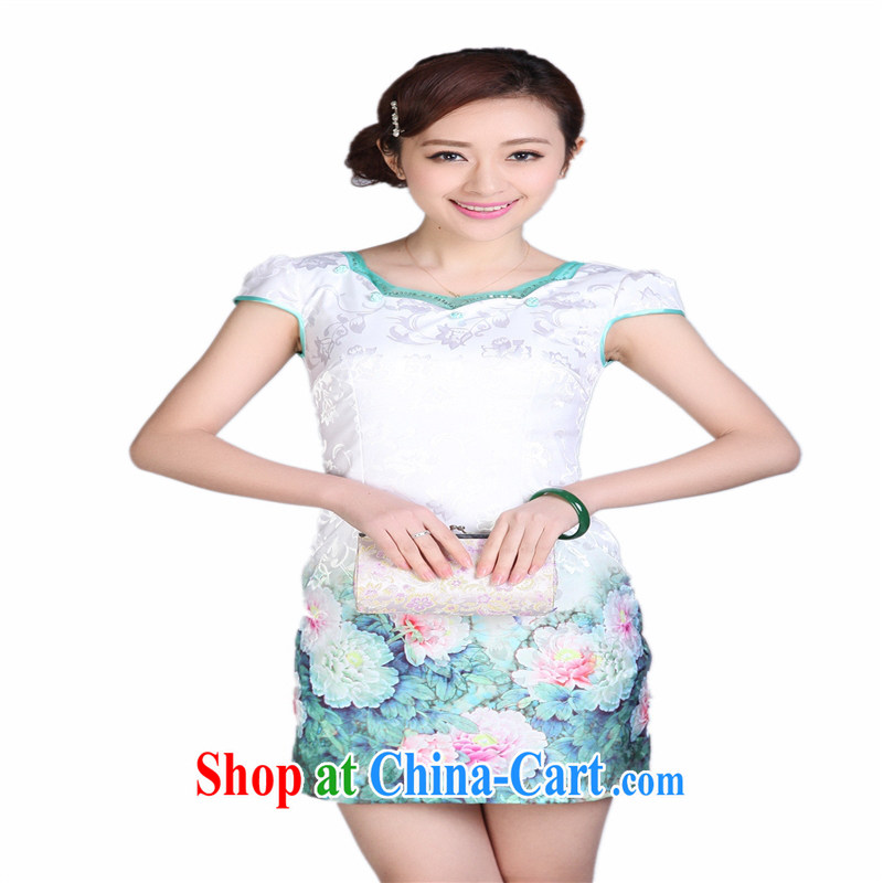 Wholesale improved Chinese qipao summer stylish improved short-neck does not open the truck daily cheongsam dress THM XL 002