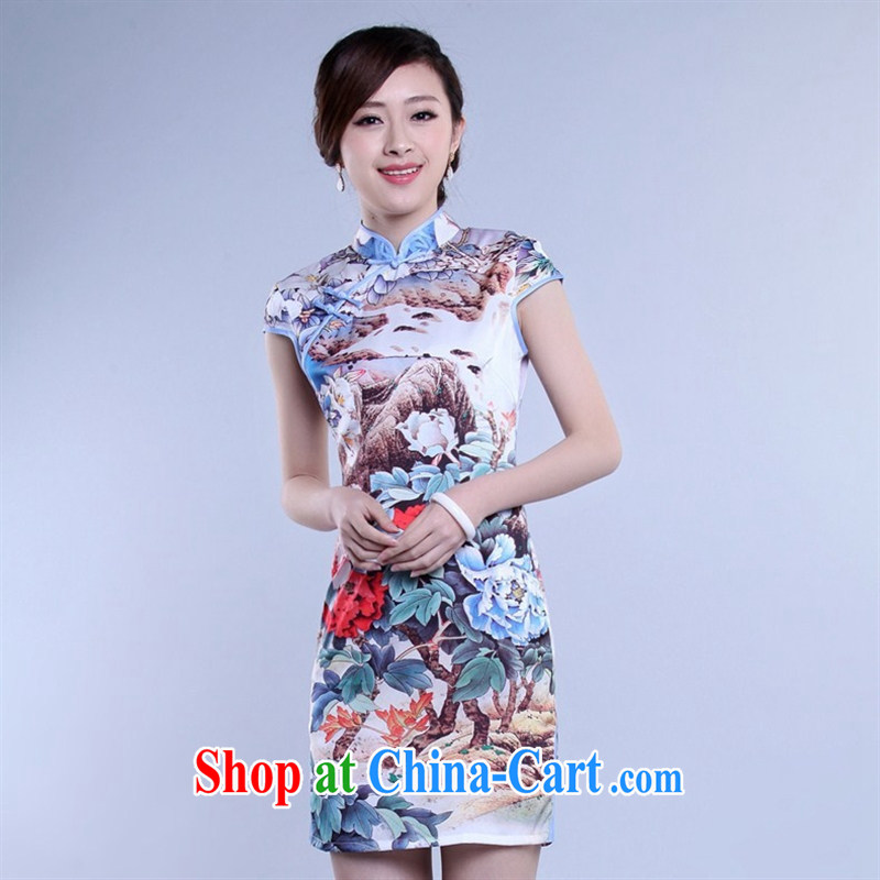 Wholesale new daily improved short retro dresses dresses silk stamp beauty and elegant open's classical FS XXL 0025