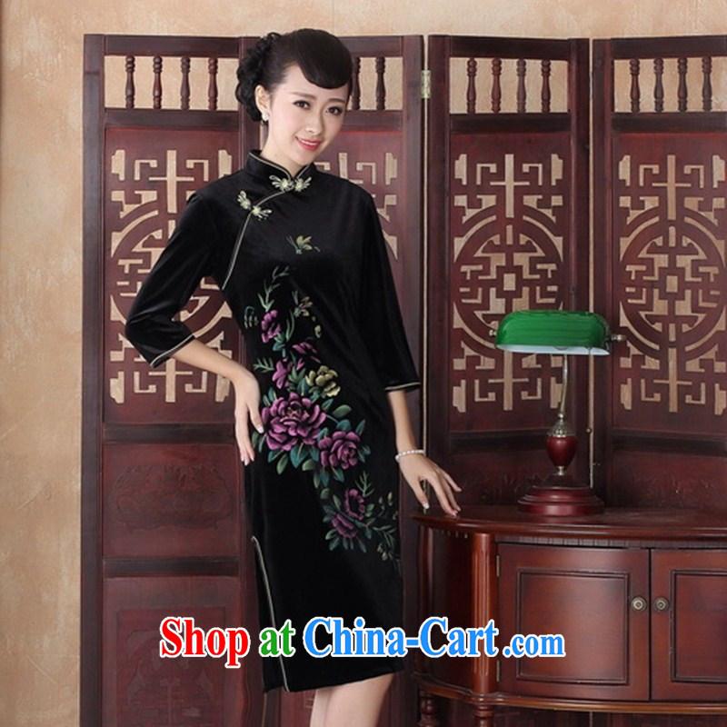 cheongsam wholesale 2014 new hand-painted the long retro velvet cheongsam improved stylish banquet cheongsam dress SRZX XXL 0012