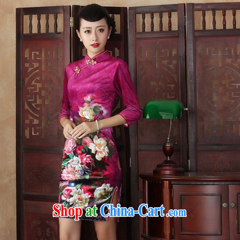Chinese Dress improved retro dresses gold velour cuff in the long autumn beauty, stylish dresses SRZX XXL 0009
