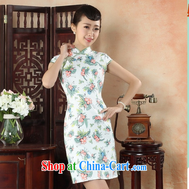 2015 wholesale New Products Peony/blue Flower Show Photo dress cotton short summer dresses day dresses TLM XXL 0019