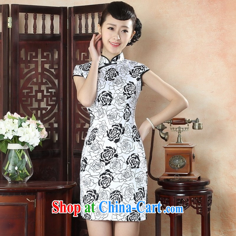 2015 autumn female new peony flower basket Sai Kung Sau San short cheongsam dress improved stylish everyday goods batch TLM XXL 0018