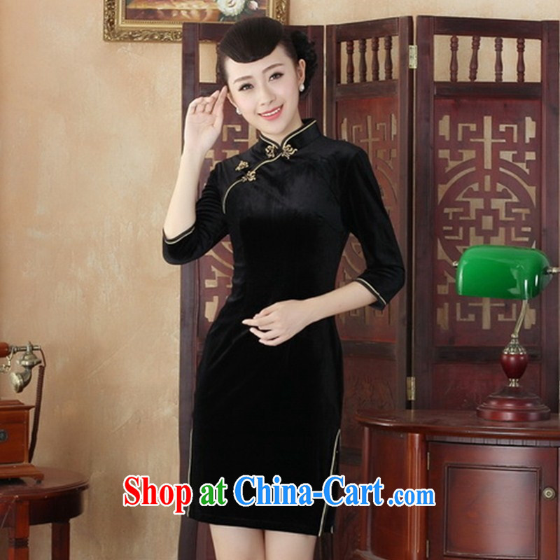 Retro improved stylish embroidered cheongsam dress, older MOM velvet cheongsam dress, velour daily outfit skirt SRZX S 0003