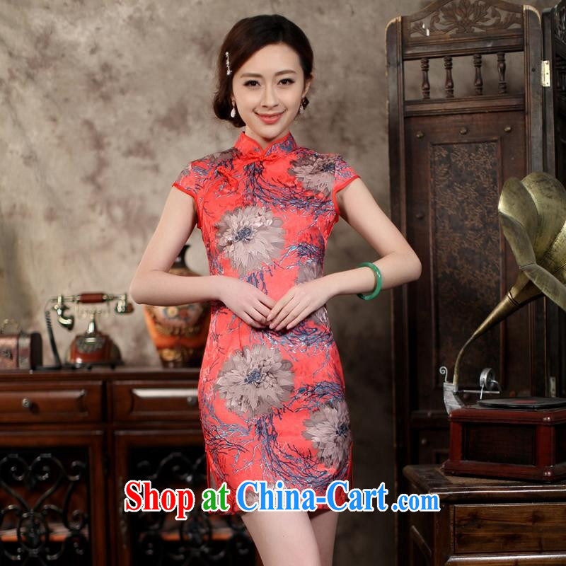 Wholesale new, improved day-short, Retro cheongsam dress jacquard cotton stamp beauty and elegant low-power's THM XXL 0029