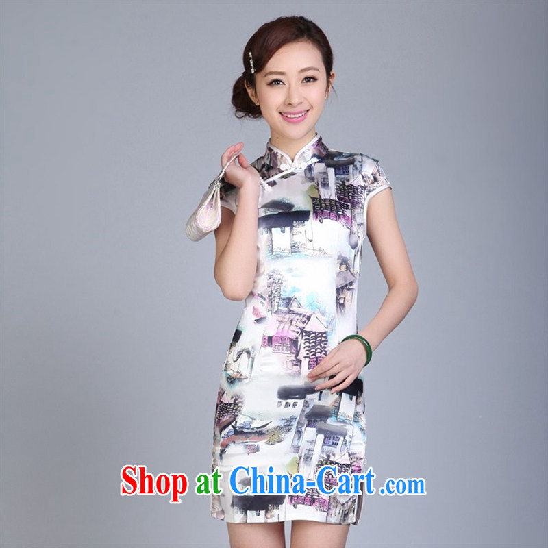 Batch load short cheongsam dress summer and autumn with stylish silk brocade short-sleeved qipao cheongsam dress etiquette stylish improved cheongsam FS XXL 0009