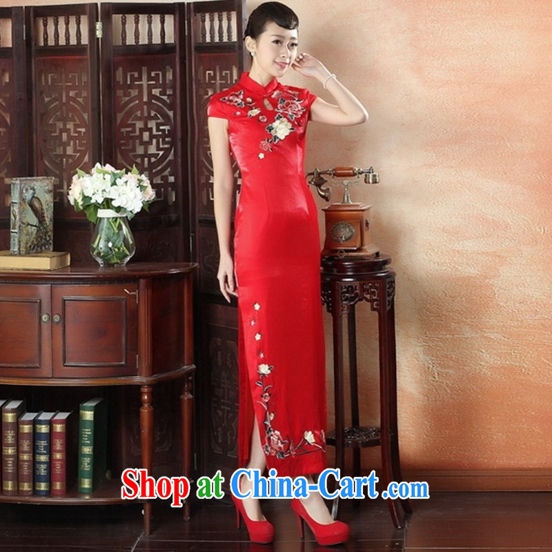 Factory direct red embroidery dresses bridal dresses large yards, Chinese artist dress CQP XXL 0011
