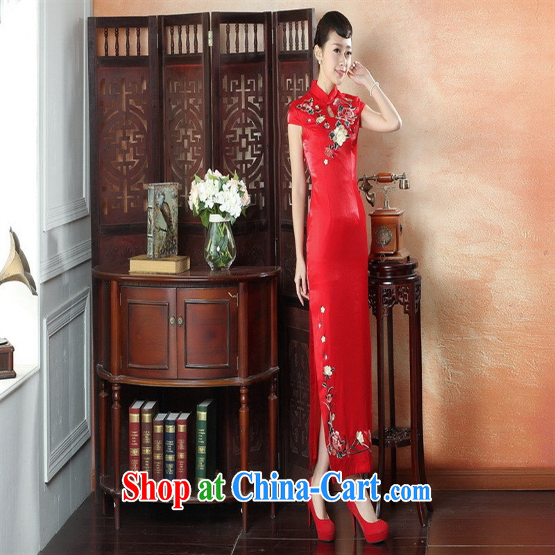 Factory direct red embroidery cheongsam dress bridal dresses large yards, Chinese artist dress CQP 0011 XXL, health concerns (Rvie .), and, on-line shopping