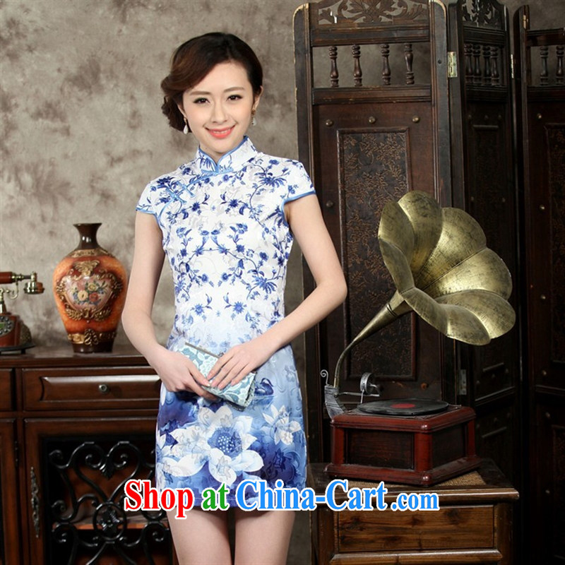 Wholesale new blue and white porcelain improved Chinese qipao improved Stylish retro cultivating Chinese qipao not the forklift truck 0005 THM XXL