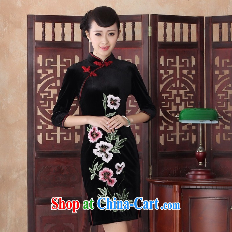 New autumn and summer, improved stylish dresses Daily Beauty graphics thin retro elegance embroidery cheongsam dress batch SRZX XXL 0019