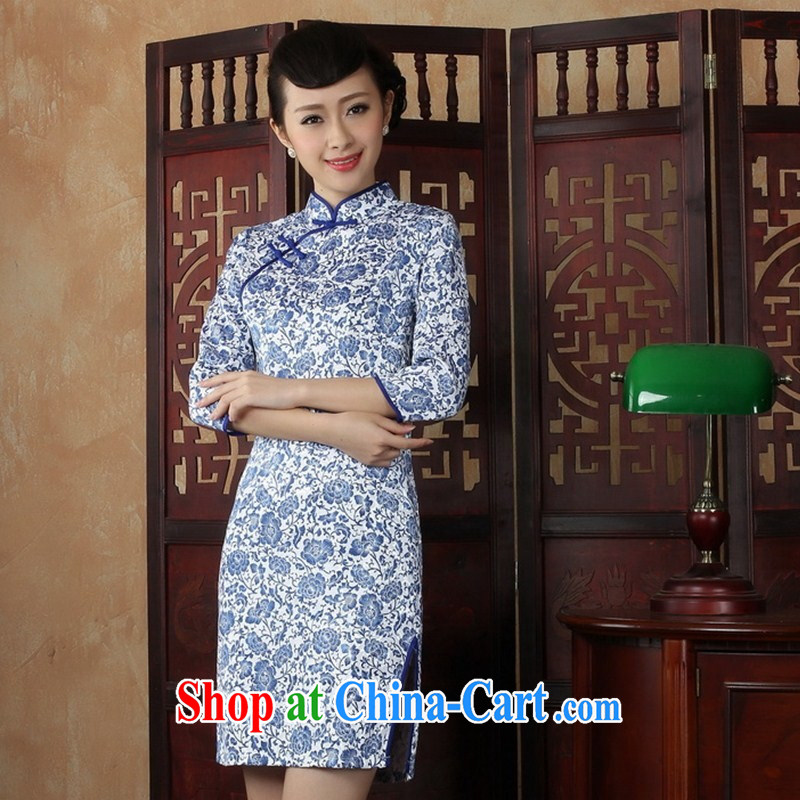 Chinese blue and white porcelain cheongsam short load improved Stylish retro beauty in autumn cuff mother daily outfit skirt THMZX XXL 01
