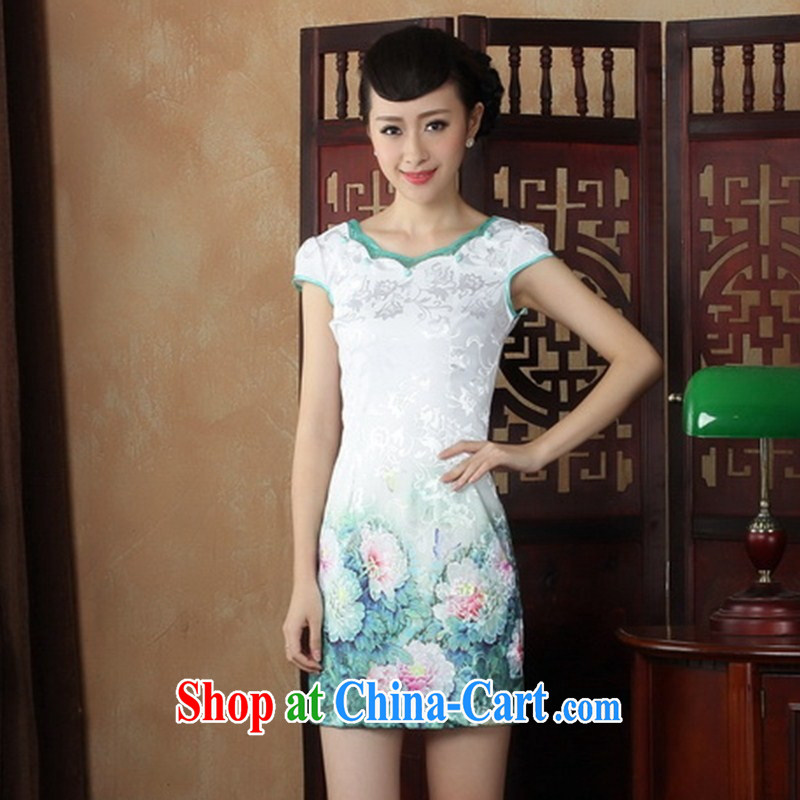 Wholesale improved Chinese qipao summer stylish improved short-neck does not open the truck daily cheongsam dress white XL