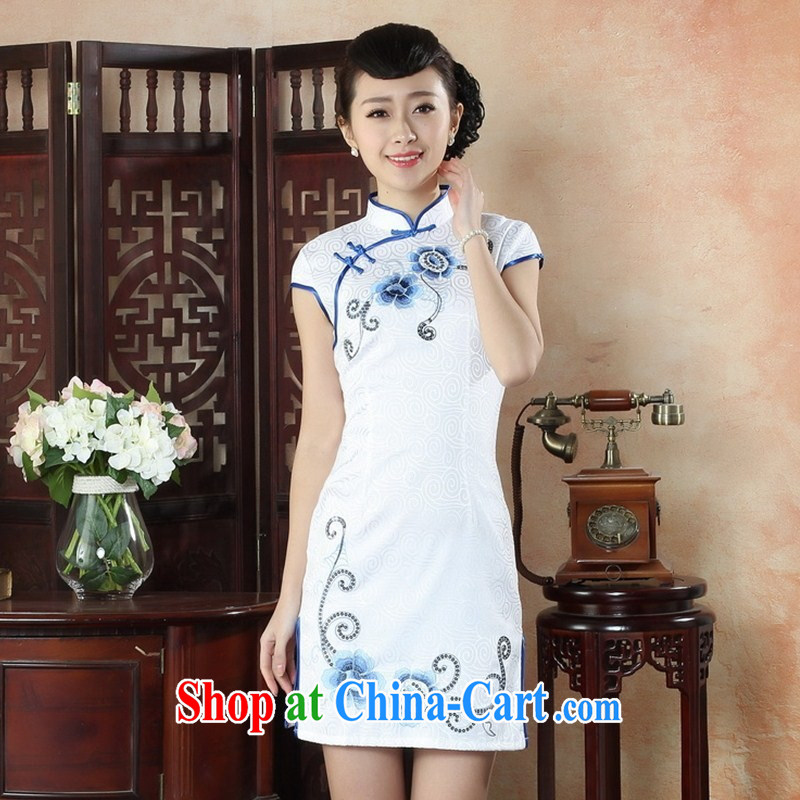 New autumn fashion summer day dress retro style beauty short cheongsam dress elegant ladies embroidery cheongsam THM XXL 0050