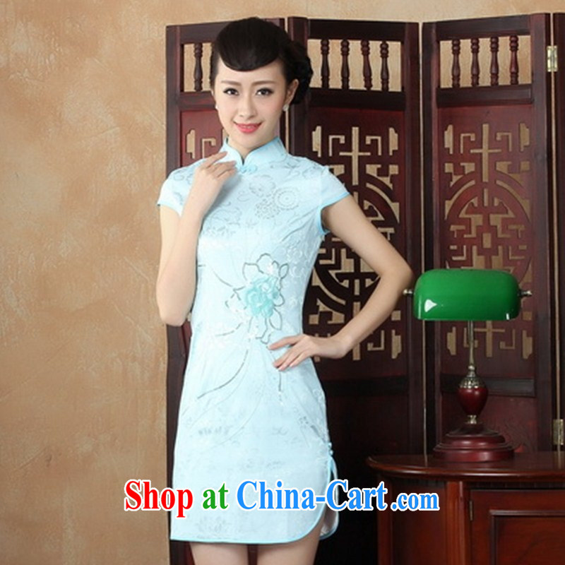 Wholesale new, improved day-short, Retro cheongsam dress jacquard cotton embroidered beauty and elegant low-power's THM XXL 0032