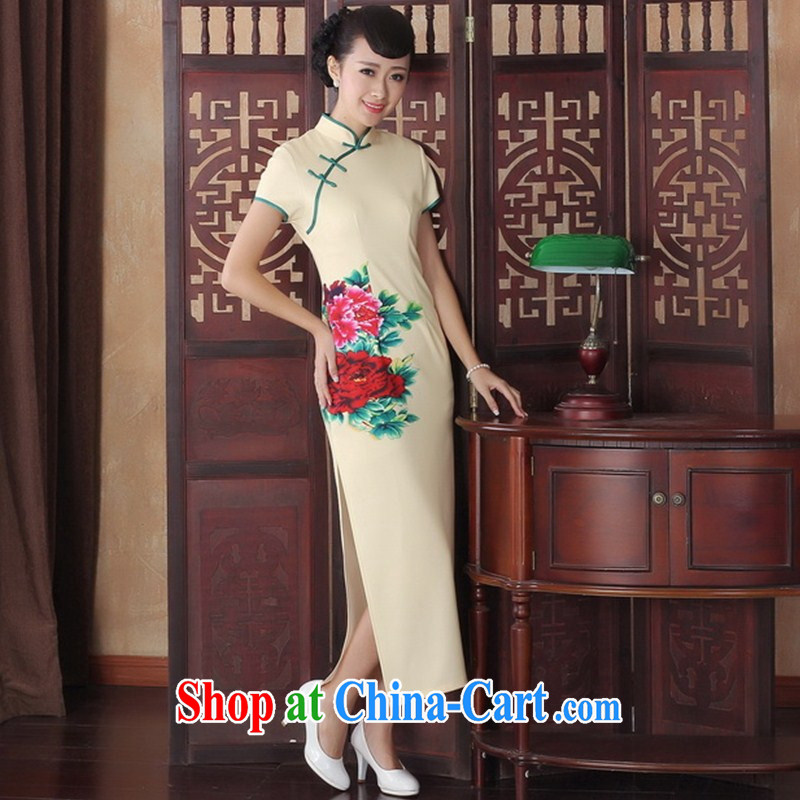 New autumn fashion summer dresses retro improved bows flag skirt elegance long cheongsam dress cheongsam beauty CQP XXL 0006