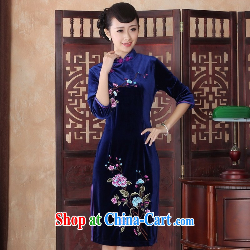 Cuff in gold velour cheongsam dress wedding dress improved bridal Ethnic Wind female Chinese summer spring 0015 SRZX XXL