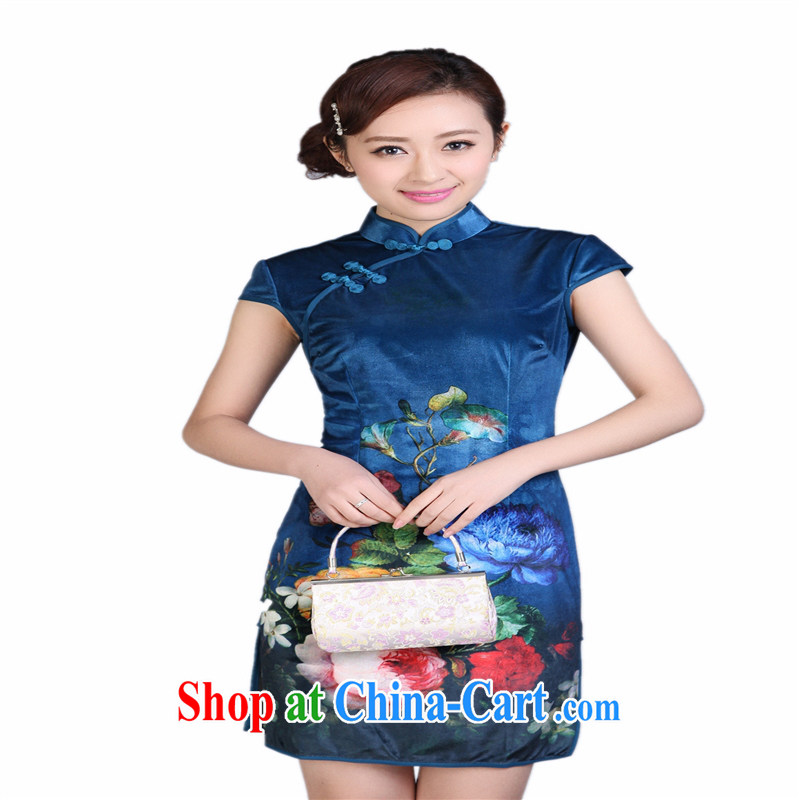 Wholesale cheongsam Chinese TD 0001 spring gold velour painting stylish classic short-sleeved short cheongsam Po Lan XXL