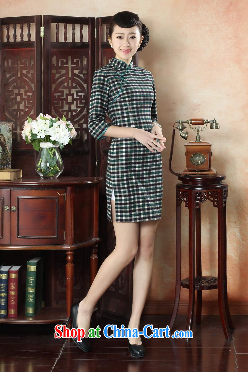 New autumn and summer fashion dresses daily retro-snap grid cheongsam dress refined elegance, qipao cuff GZZX 0005 XXL pictures, price, brand platters! Elections are good character, the national distribution, so why buy now enjoy more preferential! Health