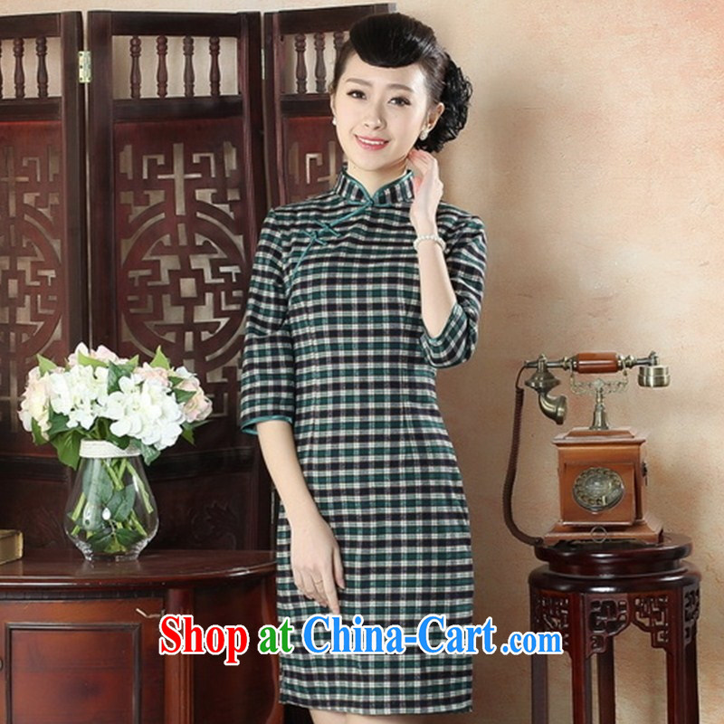 New autumn and summer fashion dresses daily retro-snap grid cheongsam dress refined elegance in traditional costumes cuff GZZX XXL 0005