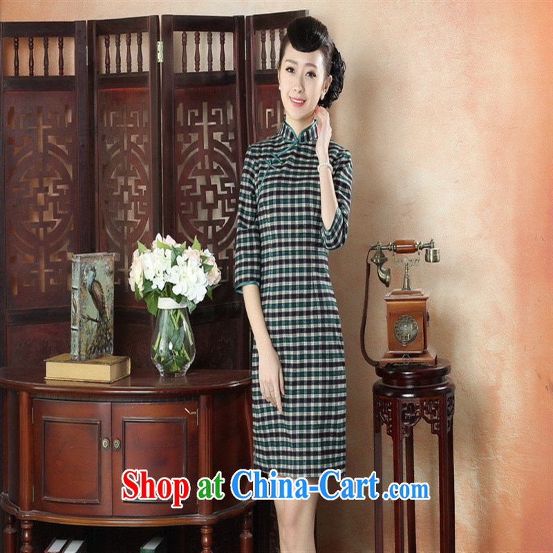 New autumn and summer and stylish dresses daily retro-snap grid cheongsam dress refined elegance in traditional costumes cuff GZZX 0005 XXL, health concerns (Rvie .), and, on-line shopping