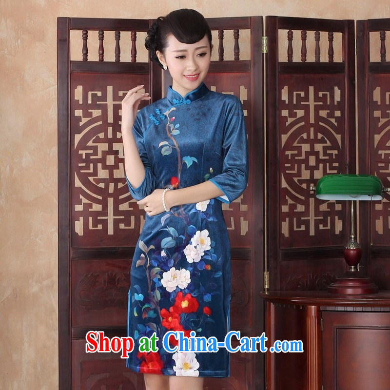 daily dress retro improved stylish beauty graphics thin elegance, velour cheongsam dress, qipao cuff SRZX XXL 0011