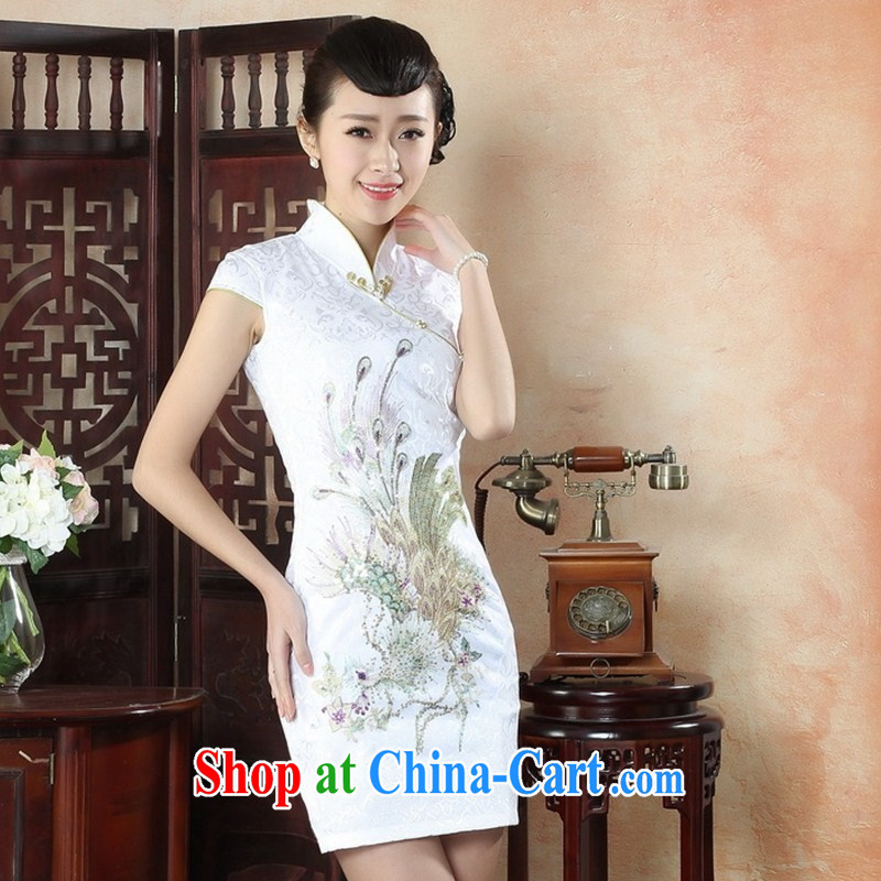 New, red phoenix antique dresses beauty summer dress stylish improved daily cheongsam dress wholesale black XXL