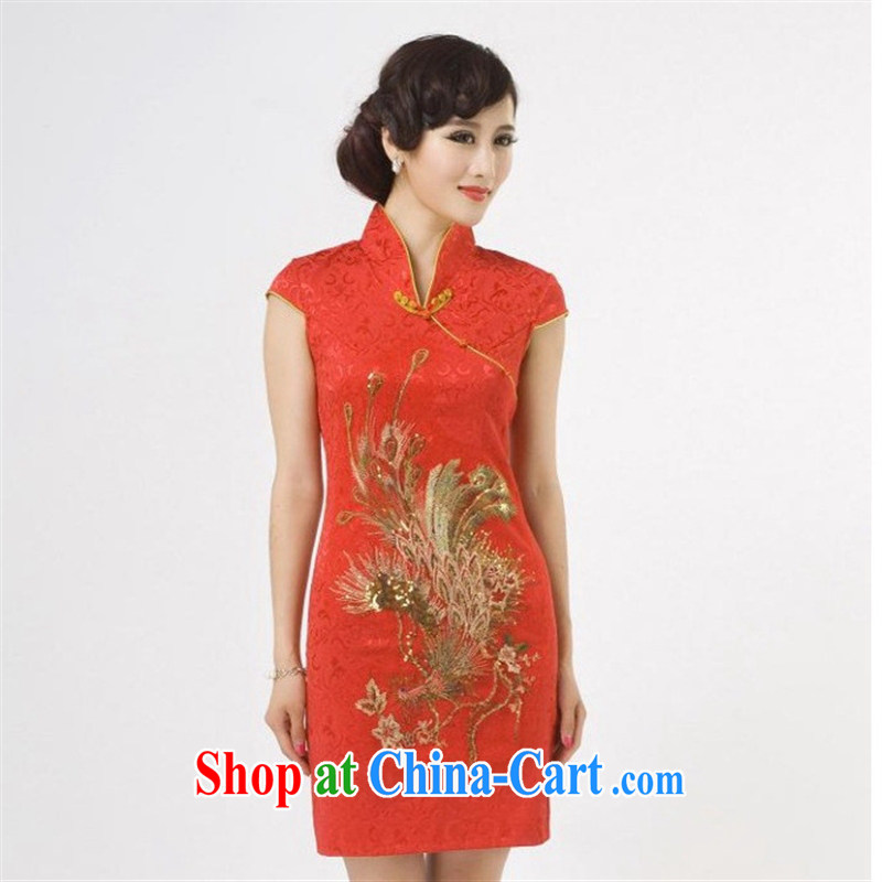 New, red phoenix antique dresses beauty summer dress stylish improved daily cheongsam dress wholesale black XXL, health concerns (Rvie .), and shopping on the Internet