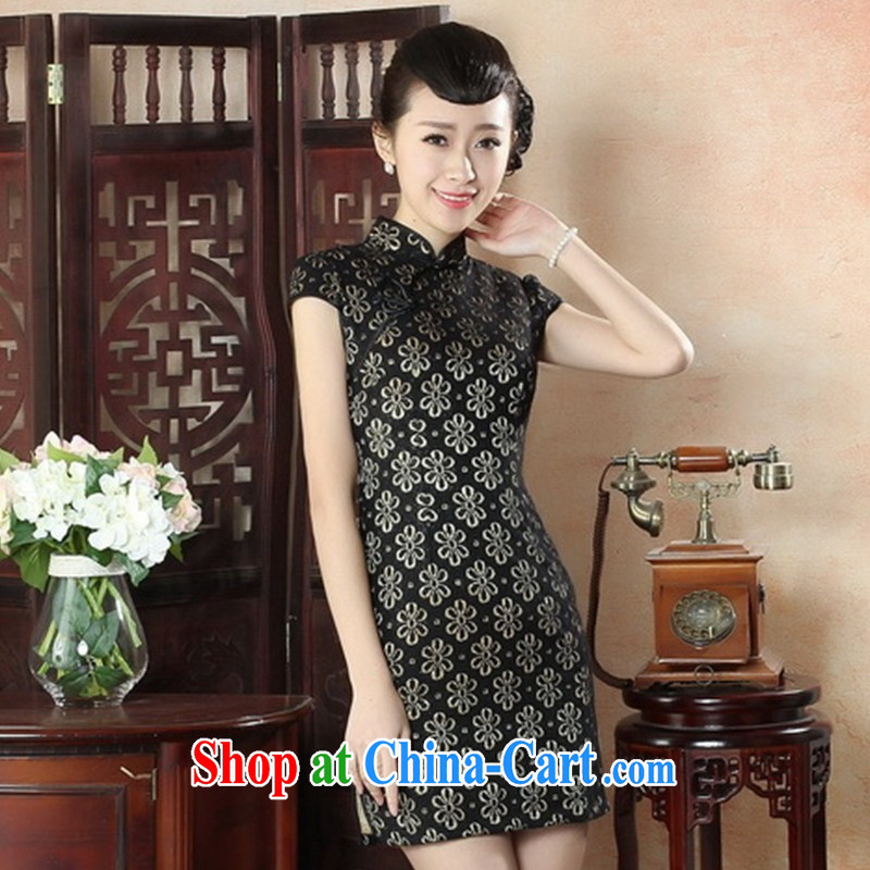 New products everyday, dress retro fashion optimize lady short cheongsam dress improved Jacob temperament lace cheongsam LS XXL 0018