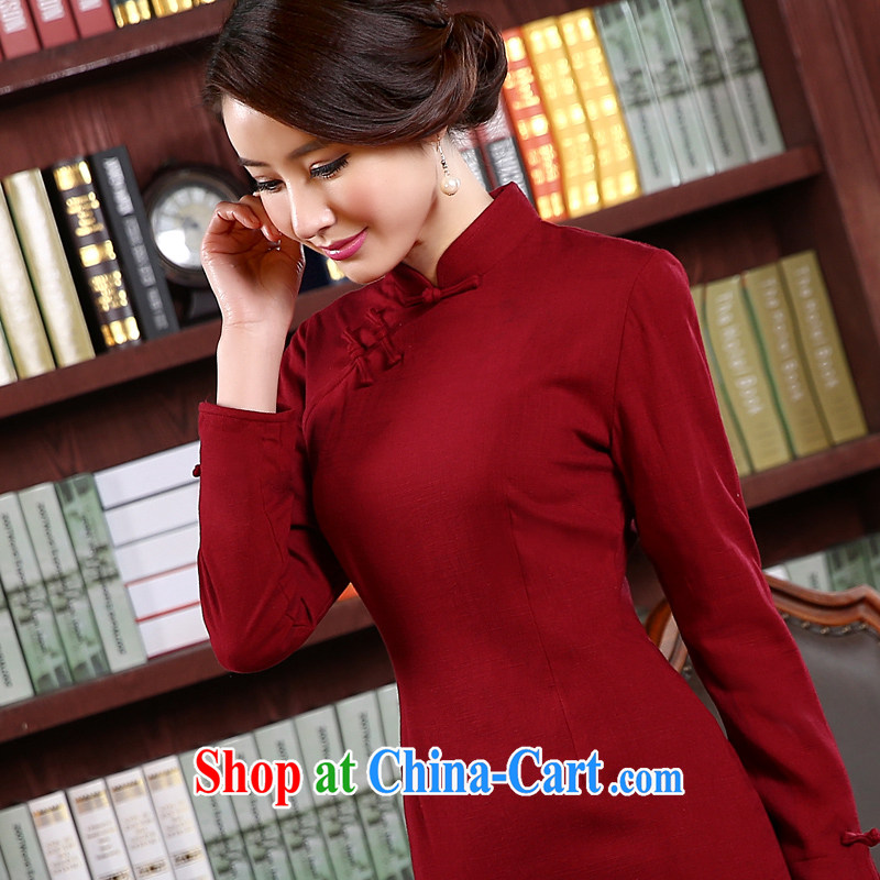 pro-am day 2015 new spring aura, cultivating a short, long-sleeved retro improved stylish cotton the cheongsam dress red 2 XL - waist 86 cm, the pro-am, shopping on the Internet