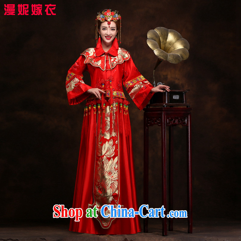 man she married Yi retro bridal show reel service spring 2015 new Chinese Dress wedding dresses use phoenix red bows Sau kimono costumes wedding clothes XXL