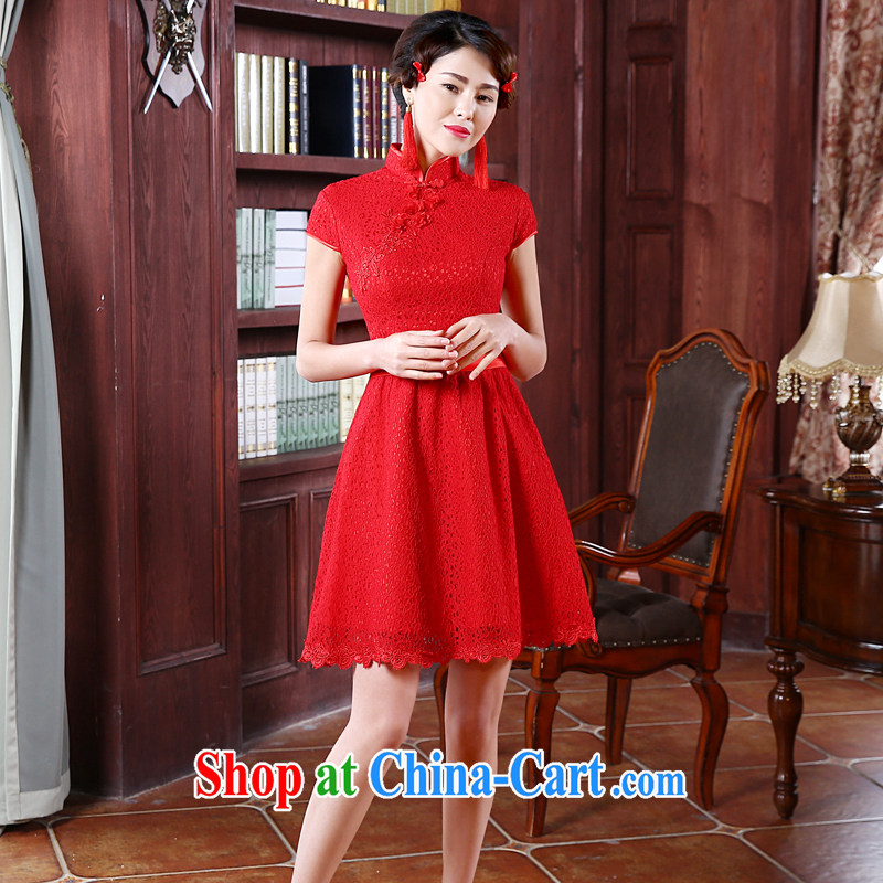 Honey, bride bridal wedding dresses red lace short, small dress Chinese dress, Princess for improved version cheongsam red M