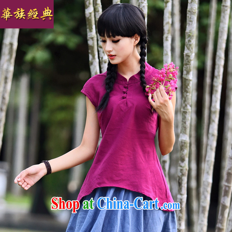 China classic 2014 summer new short-sleeved cotton Ma graphics thin shirt, Chinese literature and a fresh T-shirt red XXL