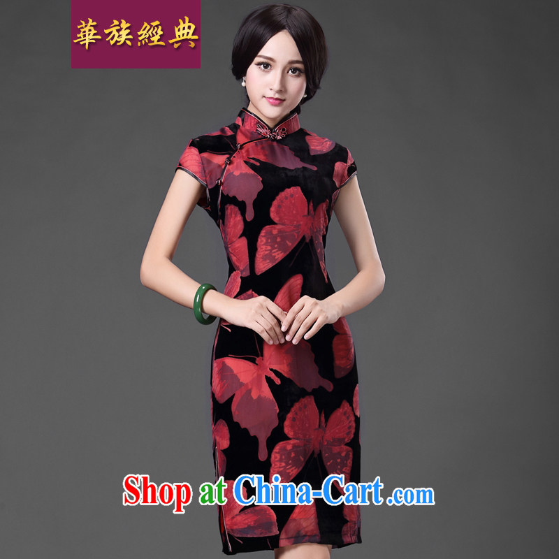 China classic * Butterfly Lovers spend. Improved silk black flower lint-free cloth elegant qipao dress MOM dresses red XXXL