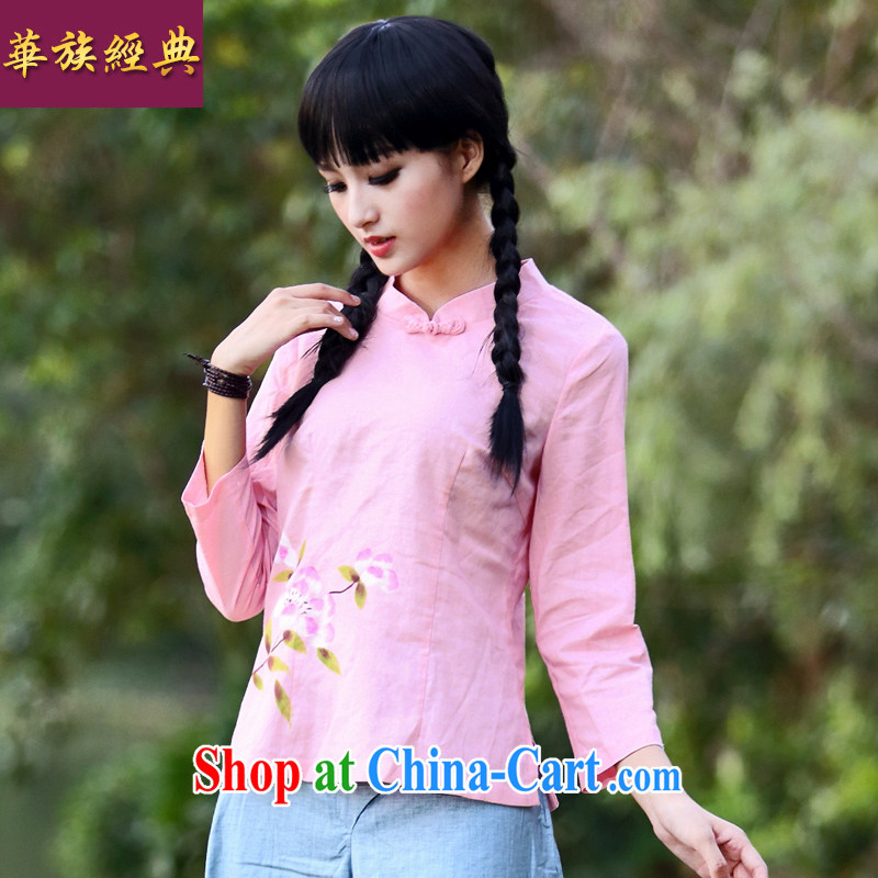 China classic 2014 original innovation, Retro fresh cotton, the T-shirt stylish and improved Chinese T-shirt, girls pink XXL