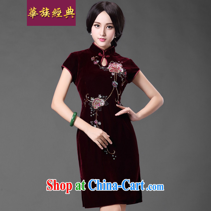 China classic upscale gold velour Chinese wedding dresses mothers dresses in her old fashioned improved spring and summer XL Uhlans on