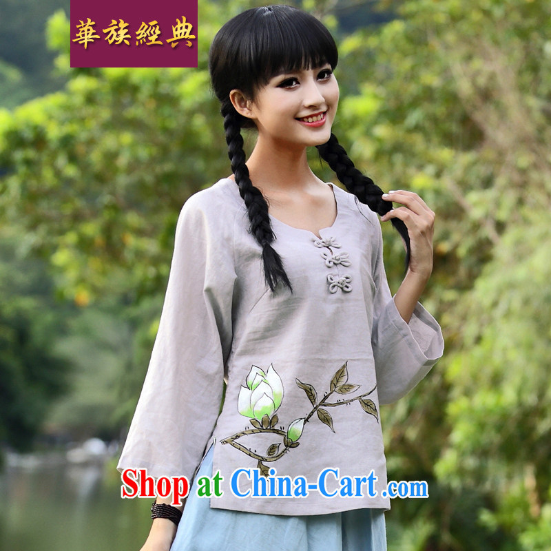 China classic 2015 new ethnic wind and stylish improved Chinese Chinese Spring, Summer retro T-shirt long-sleeved gray XXL