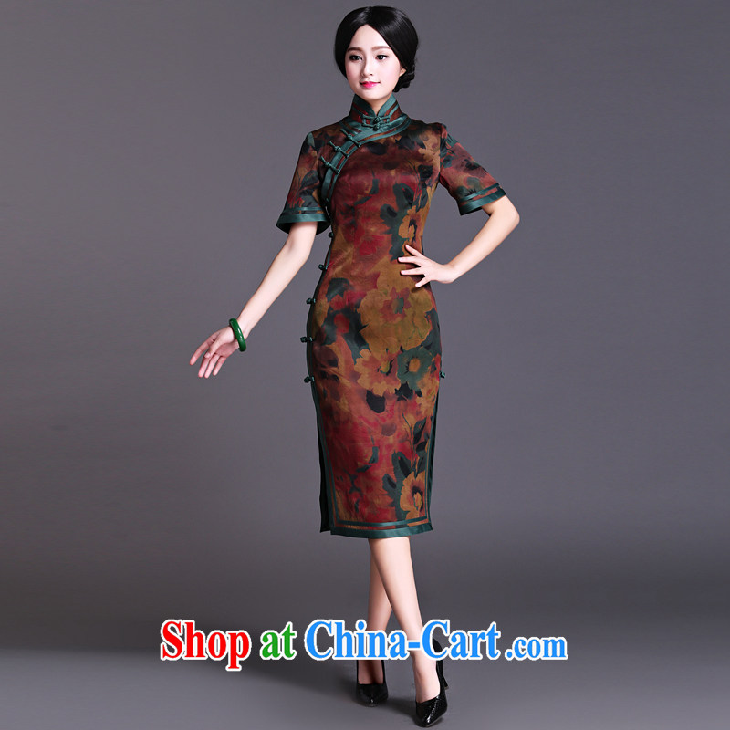 China classic upscale silk incense cloud yarn Chinese classical, qipao dresses elegant qipao beauty Van Gogh pen XXXL, China Classic (HUAZUJINGDIAN), online shopping