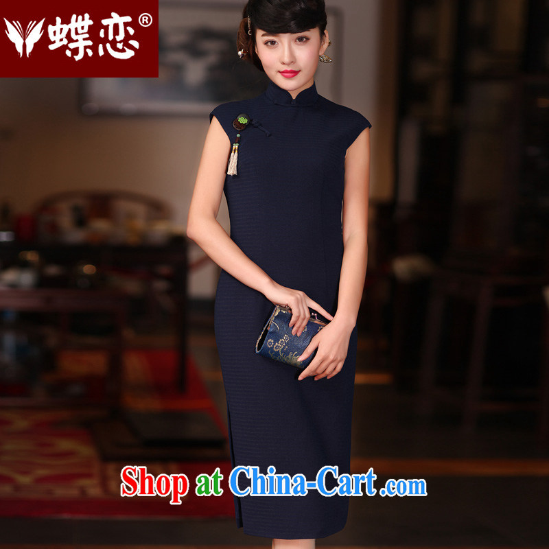 Butterfly Lovers spring 2015 the new improved fashion style cheongsam dress daily retro, long dresses, navy XXL