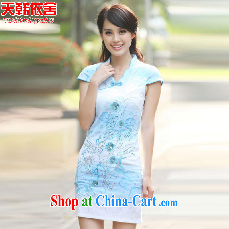 Days in Korea (ThYs) 2015 spring Stylish retro beauty and elegant dresses dresses A 6920 blue XL