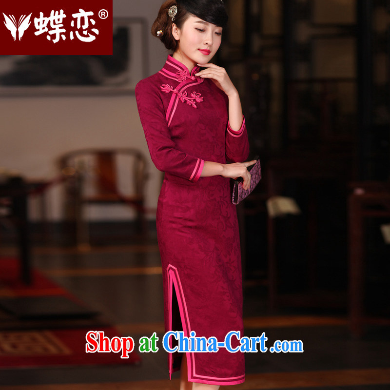 Butterfly Lovers spring 2015 the new improved fashion, long cheongsam dress retro long-sleeved daily Chinese qipao of red XXL