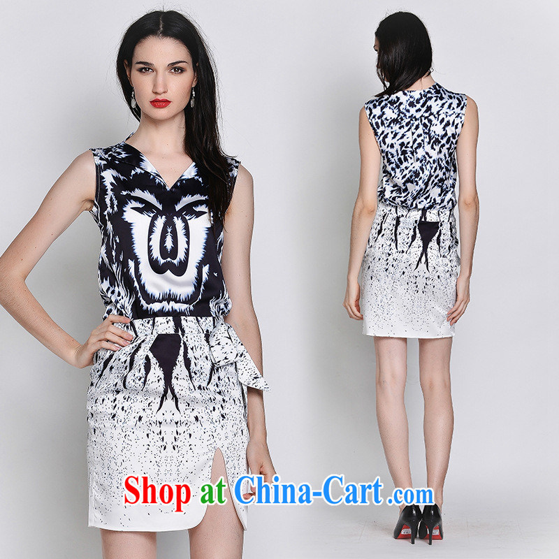 hamilton European site summer female new products in Europe and the licensing model show, abstract digital printing two-piece dresses with color pictures 80,115 L