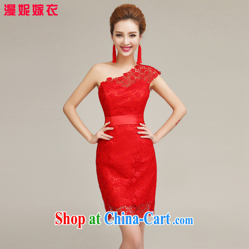 man she married Yi Manni Red single shoulder dress 2015 spring and summer new Chinese qipao marriages toast service banquet Evening Dress L