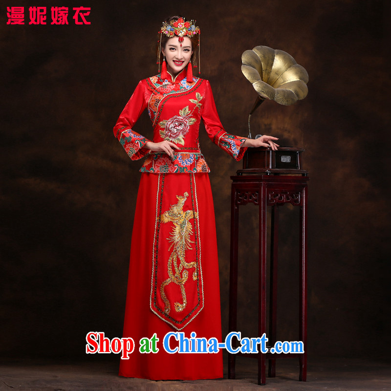 man she married Yi Chinese Su-wo service 2015 new spring and autumn bridal toast clothing retro dresses red wedding dress long dragon-use serving costumed XXL