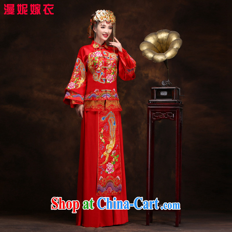 man she married Yi red toast clothing embroidery Phoenix 2015 use new spring and summer show reel service bridal gown Chinese wedding dress retro dresses married Yi L