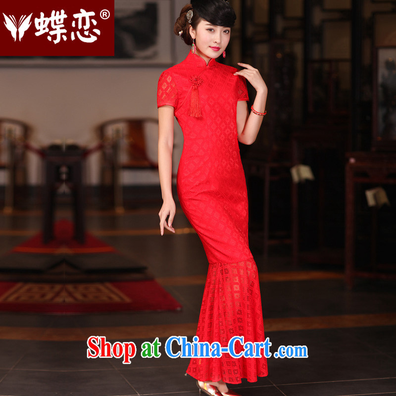 Butterfly Lovers spring 2015 new improved stylish bows. Red lace retro bridal wedding dresses at Merlion dress red - new and pre-sale 20 days XXL